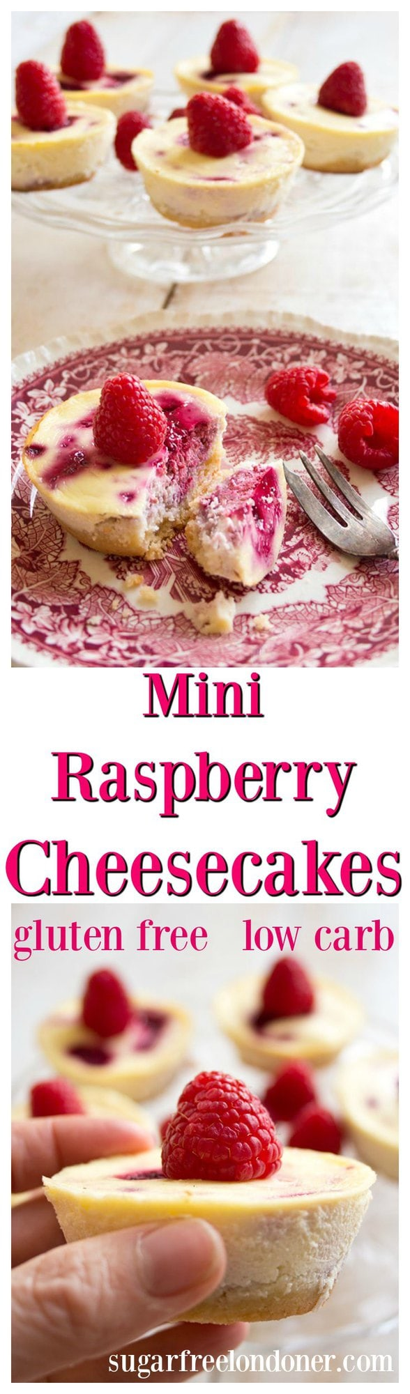 These creamy, fruity individual low carb raspberry cheesecakes are a perfectly guilt free indulgence. #lowcarb #sugarfree #cheesecake