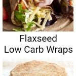 flaxseed wraps willed with ham, cheese and salad plus a stack of flaxseed wraps