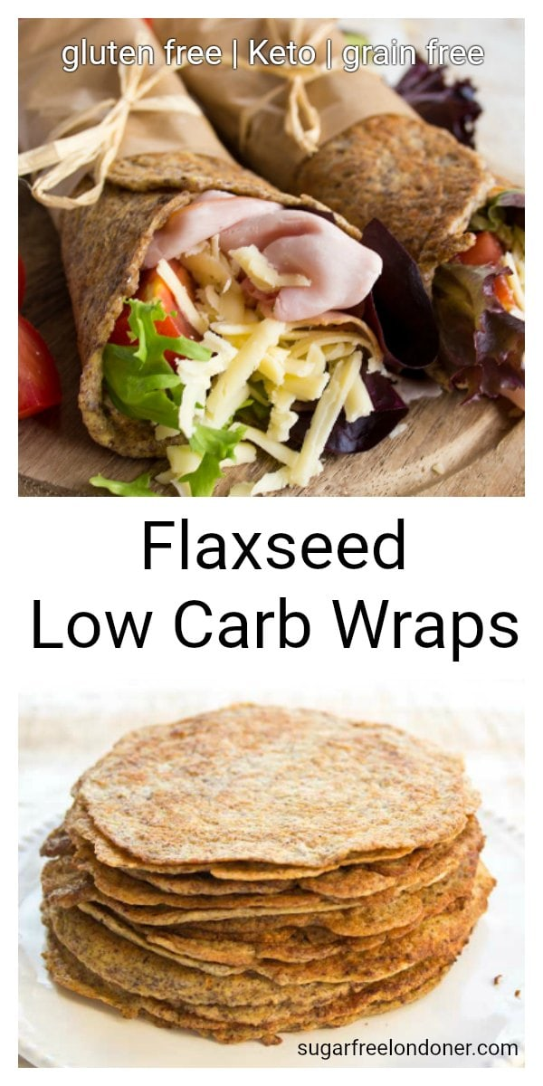 Flaxseed Low Carb Wraps are a nutritious and delicious low carb alternative to bread. These easy low carb wraps are wheat free, gluten free and easily pliable. Perfect for lunch boxes! #lowcarbwraps #tortillas