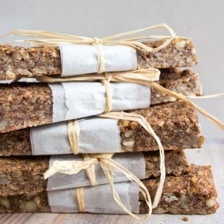 a stack of granola bars