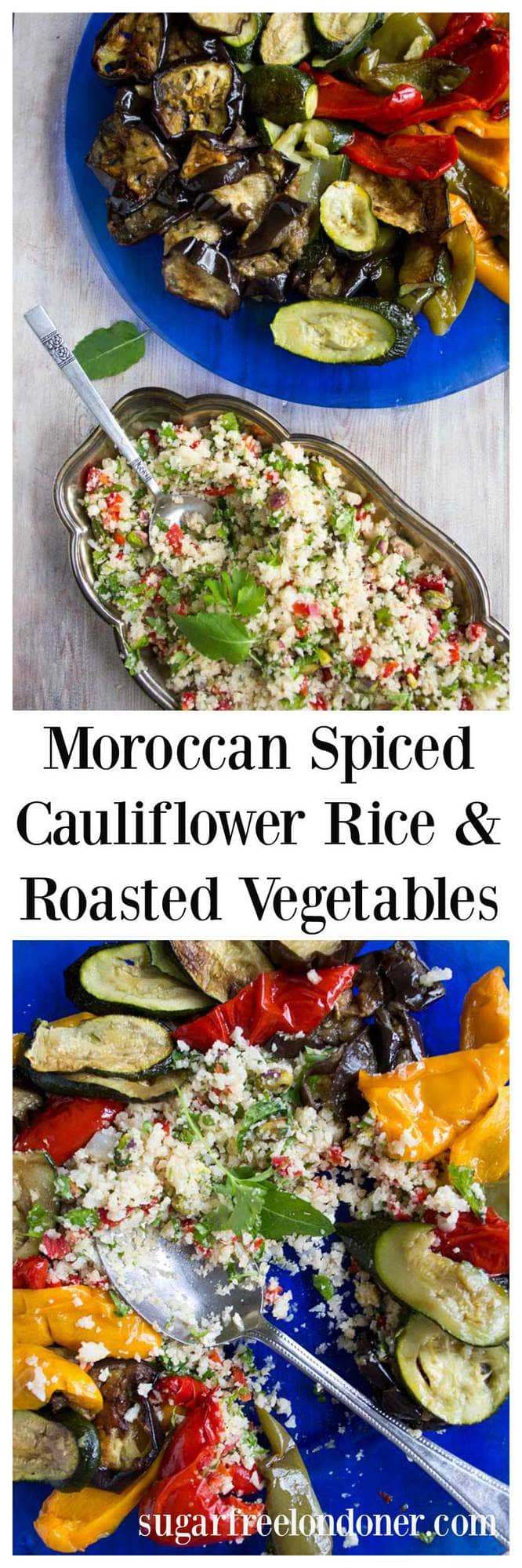 A light low carb lunch or dinner that is bursting with flavour. This Moroccan cauliflower rice with roasted vegetables is served with a yoghurt tahini dip. #cauliflowerrice