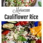 moroccan culiflower rice and roasted vegetables