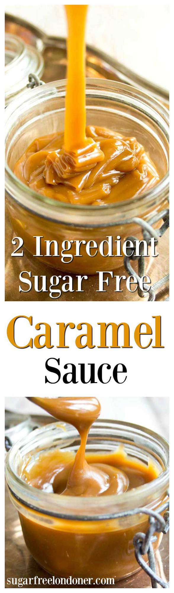 The best things in life are simple - like this 2 ingredient sugar free caramel sauce. Low carb, vegan and delicious, it can be used in candy or as a topping for ice cream, cakes, pancakes or waffles. #caramel #caramelsauce #sugarfree #lowcarb #diabetic #diabeticrecipe #dessert #easyrecipe #sauce