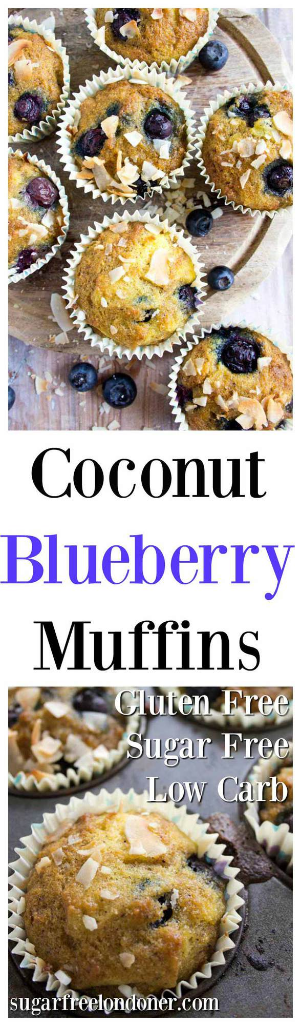 Light and golden low carb blueberry coconut flour muffins - perfectly moist with fruity blueberry bursts. Enjoy as an on-the-go breakfast or as a satisfying snack. Gluten free, Keto and sugar free. #coconutflour #lowcarbmuffins #coconutflourmuffins