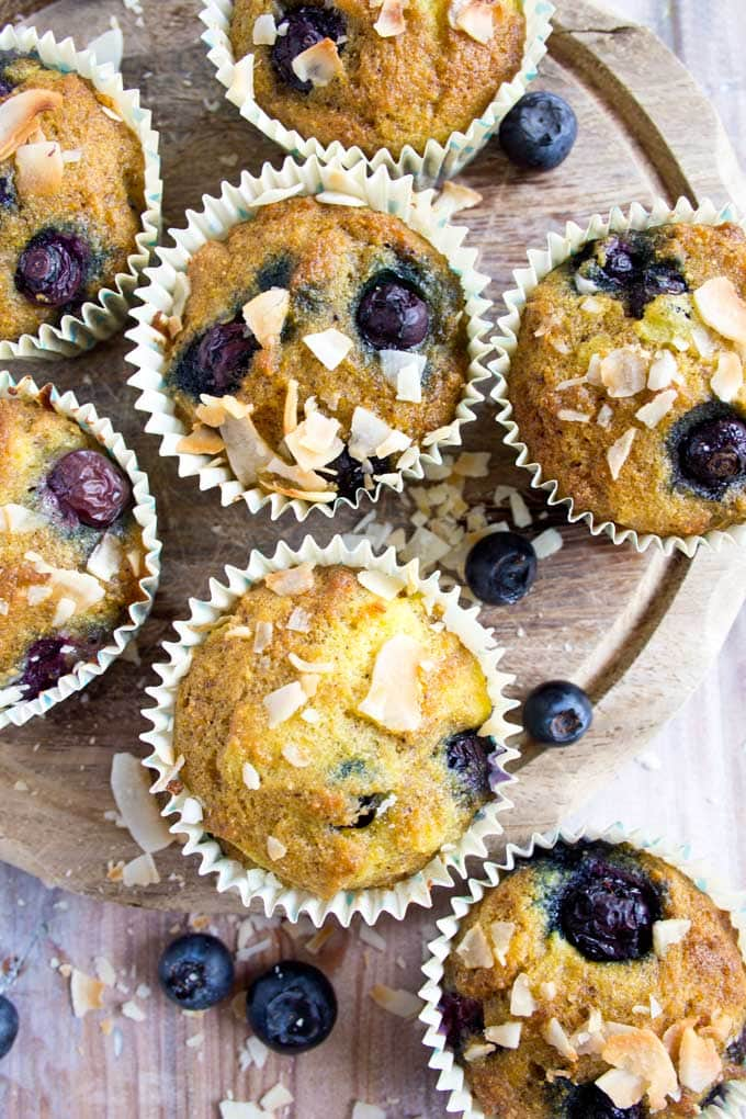 Blueberry coconut flour muffins on a tray