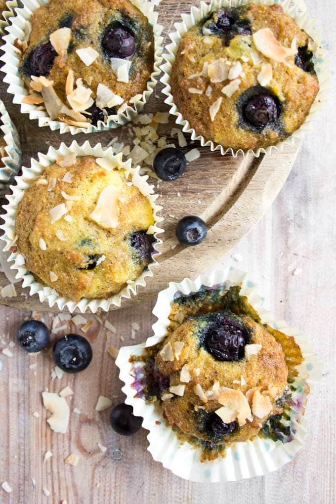 Coconut blueberry muffins are perfectly light and moist with fruity blueberry bursts. Enjoy as an on-the-go breakfast or as a satisfying snack. Gluten free and low carb.