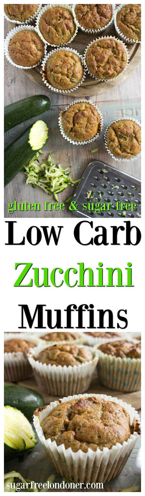 These super healthy low carb zucchini muffins are a tasty snack or grab and go breakfast. Grain free and sugar free! #zucchinimuffins #muffins
