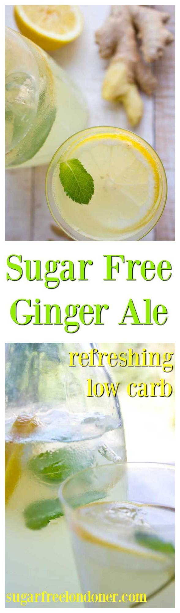 Sugar Free Homemade Ginger Ale will make your taste buds do the happy dance. An easy and refreshing low carb drink that uses fresh ginger! #gingerale #sugarfree