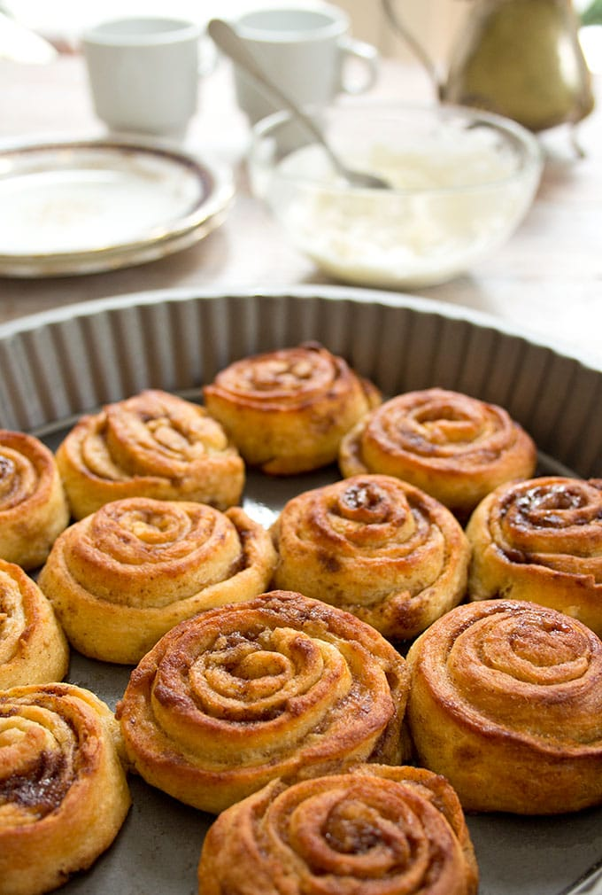 Soft, gooey, fluffy keto cinnamon rolls in a tray