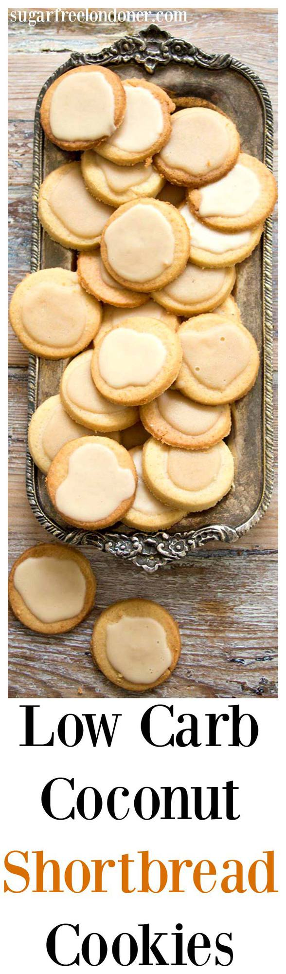 A low carb and entirely sugar free take on classic shortbread biscuits. Low Carb Coconut Shortbread Cookies are light, buttery and crumbly with a deliciously rich coconut butter glaze. Perfect for diabetics, gluten free and ketogenic diets. #cookies #lowcarb #sugarfree #shortbread