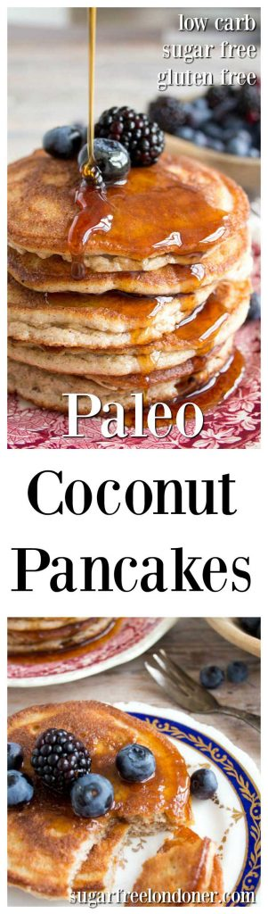 Fluffy and light Paleo coconut pancakes, perfect for a relaxed weekend breakfast. Best of all, they are low carb, grain and sugar free!