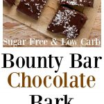 keto bounty bar chocolate bark sliced into squares