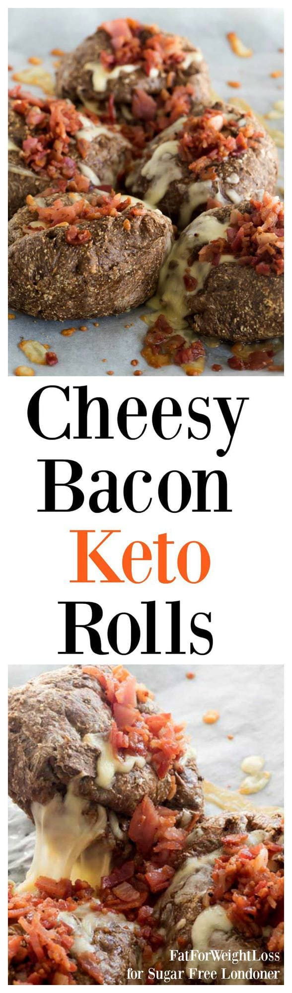 This cheesy bacon bread rolls recipe is a soft fluffy ketogenic bread covered in mozzarella cheese and delicious bacon pieces.