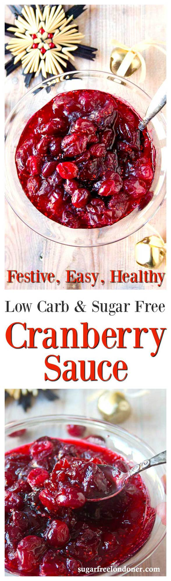 Try this easy low carb cranberry sauce recipe for your next festive feast. Only 4 ingredients and ready in 10 minutes! Sugar Free, Keto