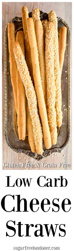 Tasty breadstick alert! These low carb cheese straws are perfect for nibbling and dipping. An easy easy grain free snack recipe with only 5 ingredients.