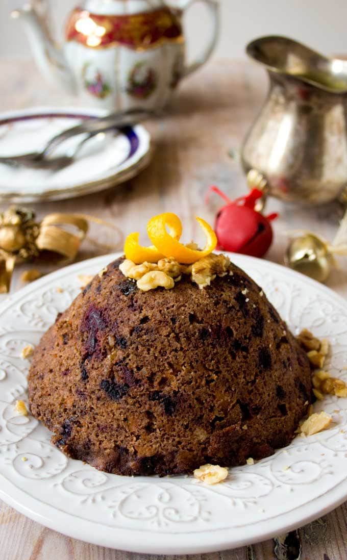A low carb christmas pudding made in the microwave
