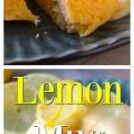a lemon mug cake on a plate with lemon glaze as a collage for Pinterest