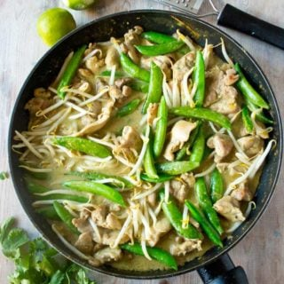 Thai chicken green curry is a quick, easy and tasty main meal. Great with cauliflower rice!