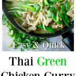 a chicken green curry in a pan