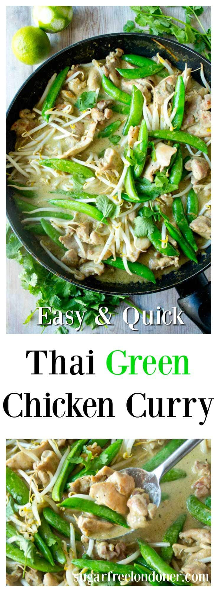 Thai chicken curry is a quick, tasty low carb main meal. This easy green curry recipe is delicious served with cauliflower rice. Ready in only 15 minutes! #greencurry #chickencurry