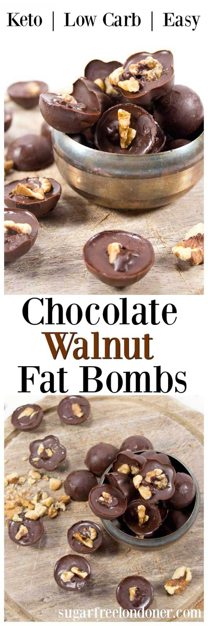 Chocolate walnut fat bombs are a delicious way to satisfy your sweet craving. This keto snack is perfect for a quick-fix energy boost. #fatbomb #keto #lowcarb #sugarfree #snack #walnut #glutenfree #diabetic