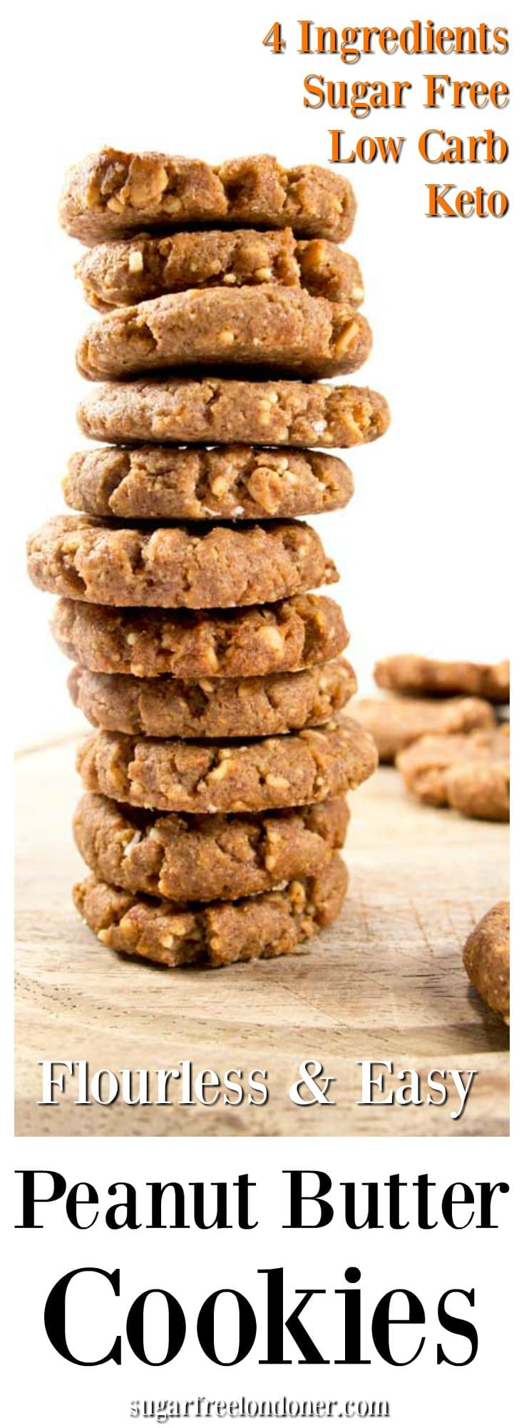 Flourless low carb peanut butter cookies - easy, quick and only 4 ingredients needed. Perfect for low carb and keto diets. Gluten free and sugar free! #peanutbutter #cookies #lowcarb #sugarfree #keto