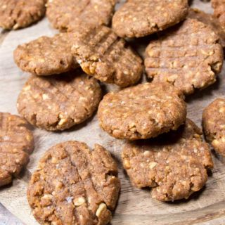 low carb peanut butter cookies on a wooden board