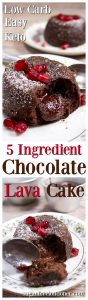A deliciously rich low carb chocolate lava cake with a gooey molten centre. Only 5 ingredients and sugar free! Keto and diabetic-friendly.