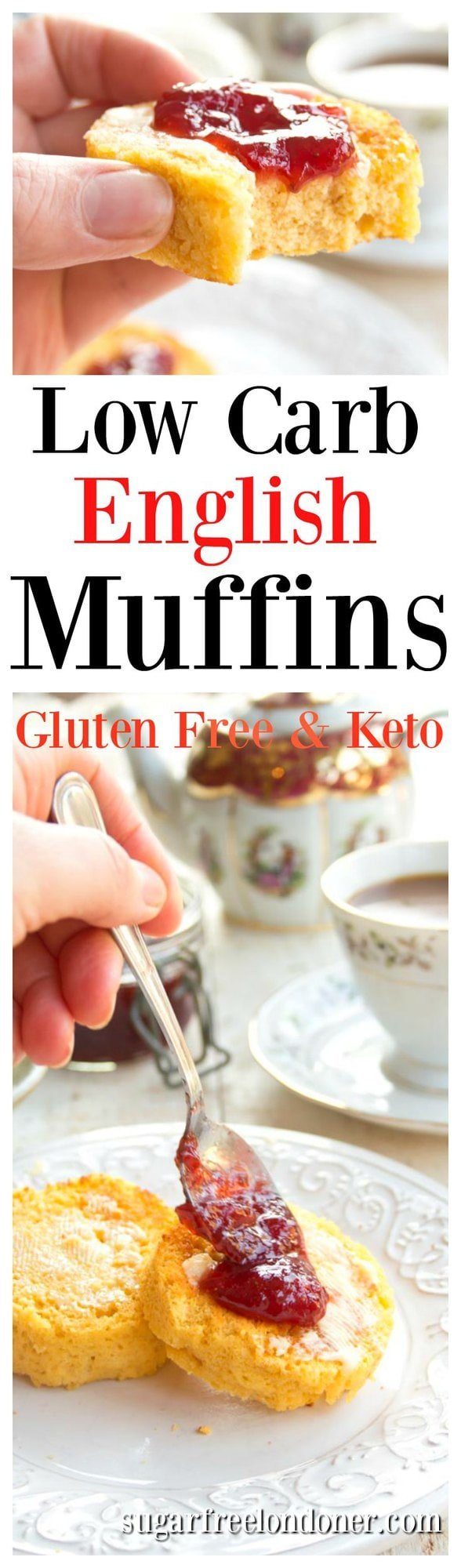 A simple, quick and delicious breakfast! It takes just 90 seconds to make these easy Keto English muffins in your microwave. They are gluten free and grain free. #ketomuffins #lowcarbmuffins