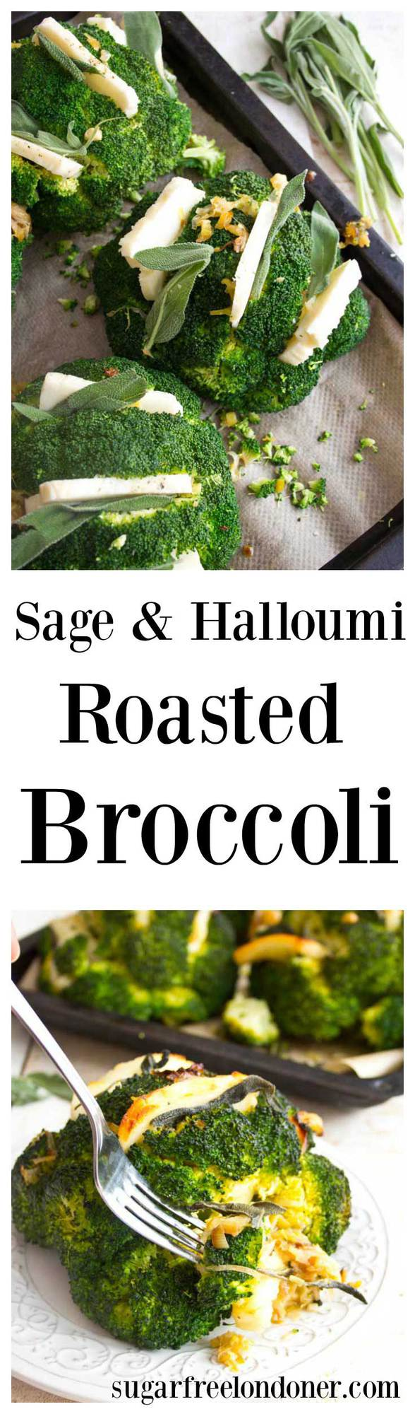 Sage and halloumi roasted broccoli heads with caramelised leeks is a light and flavourful lunch dish. Ready in under 30 minutes!