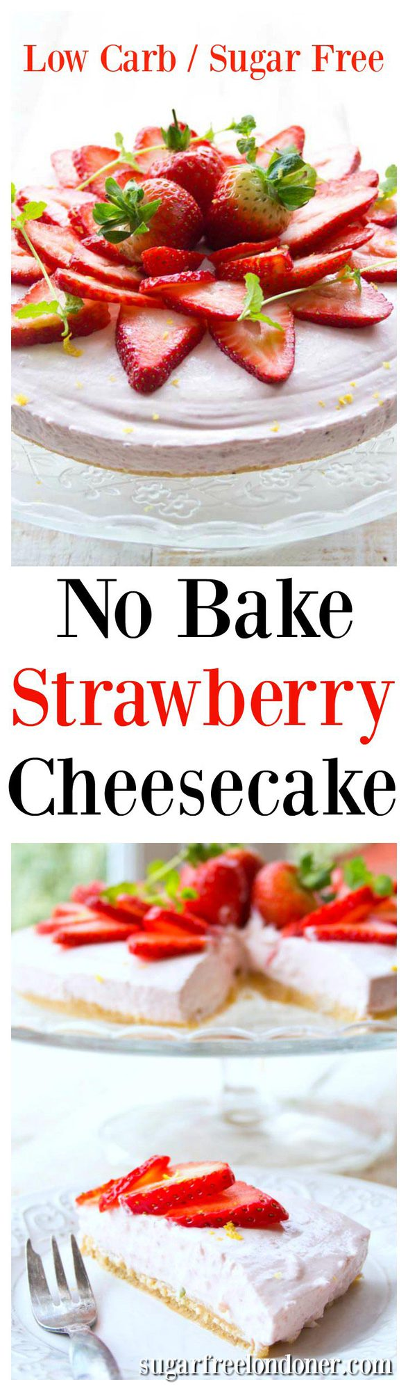 Give the oven a break with this fruity and easy no bake low carb strawberry cheesecake. It has an almond crust which also makes it gluten free.#lowcarb #cheesecake #sugarfree #strawberry