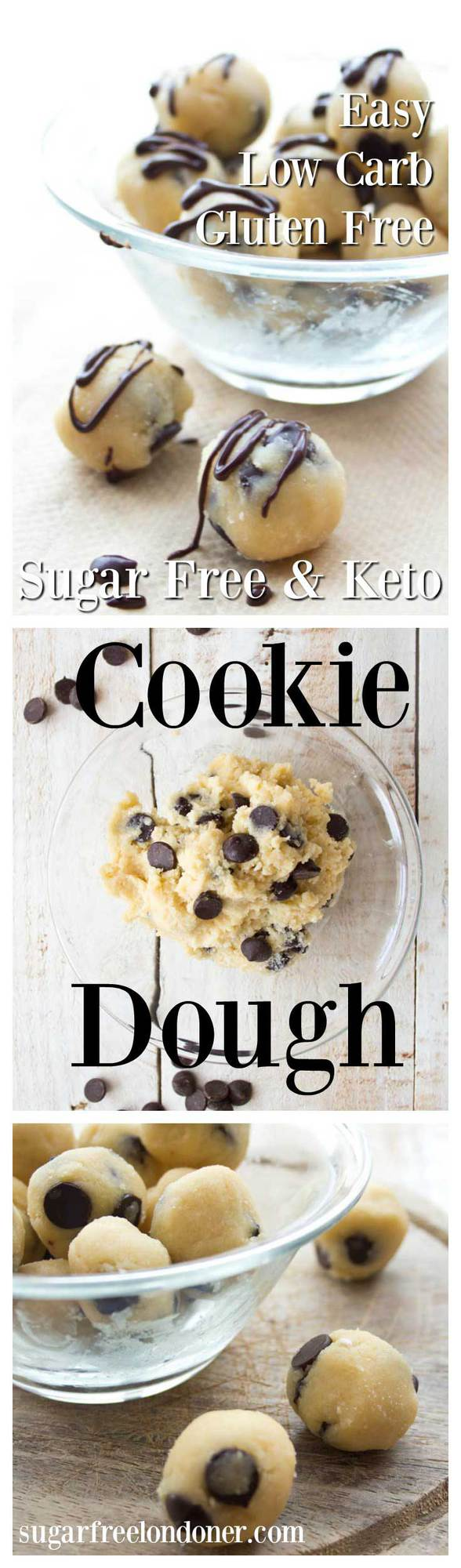 Sugar free low carb cookie dough - a no bake chocolate chip dough that's gluten free and a delicious guilt-free treat. Ready in one minute! #lowcarb #sugarfree #cookiedough #keto #glutenfree #grainfree #diabetic #easyrecipe #snack #cookies