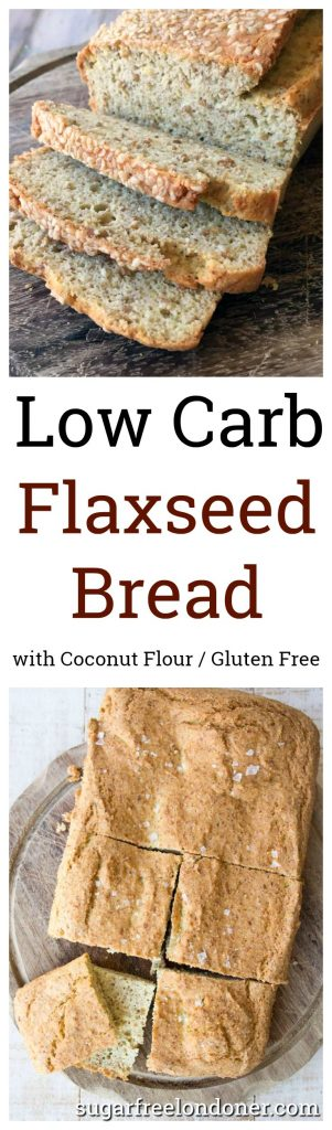 flaxseed low carb bread baked as a loaf and as a focaccia
