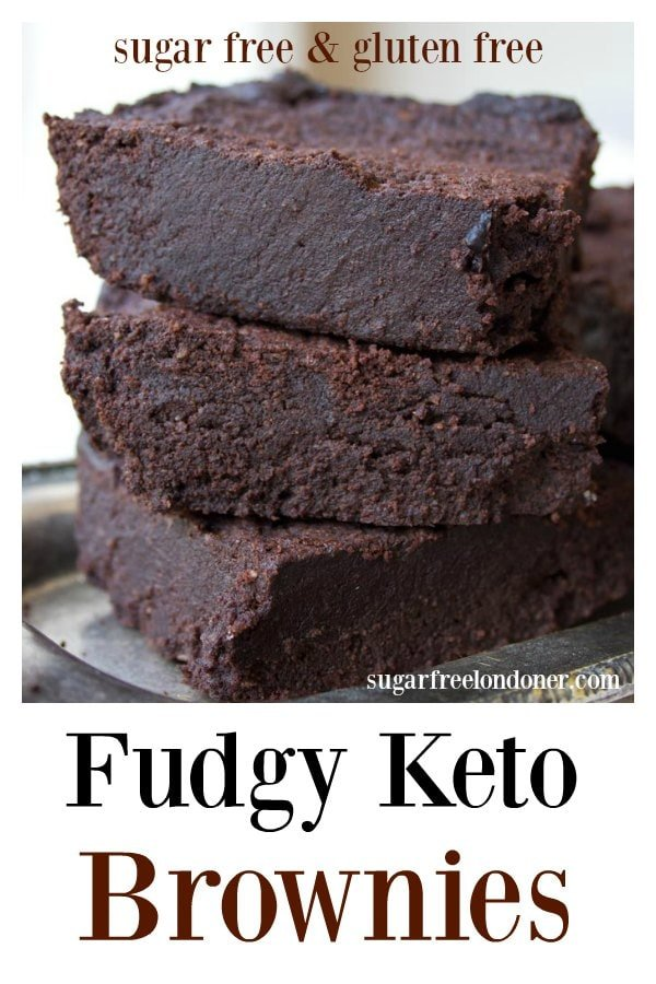 The fudgiest, most chocolatey Keto brownies ever. This simple low carb and sugar free recipe makes perfect brownies time after time. Gluten free and diabetic-friendly. #brownies #lowcarb #keto #sugarfree #diabetic