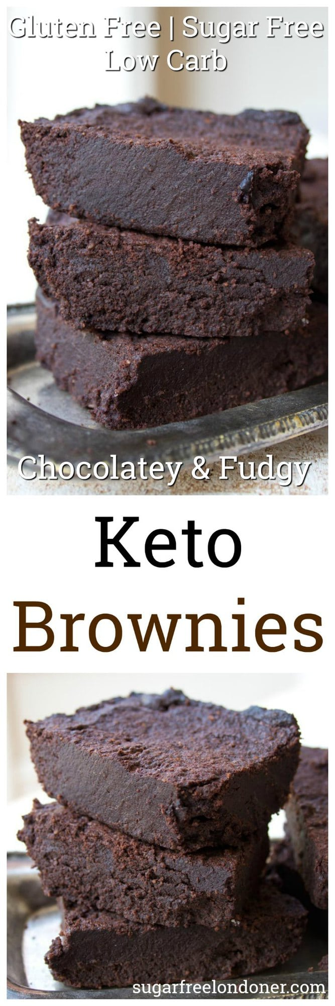 The fudgiest, most chocolatey Keto brownies ever. This simple low carb and sugar free recipe makes perfect brownies time after time. Gluten free and diabetic-friendly. #brownies #lowcarb #keto #sugarfree #diabetic #glutenfree #LCHF