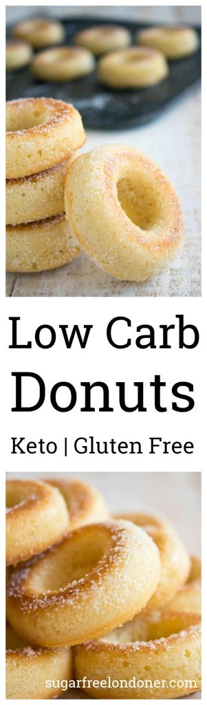 These healthy low carb donuts taste just like the real thing, just without all the sugar and carbs! They are deliciously moist and spongy, with a hint of vanilla flavour. Perfect for Keto, sugar free and gluten free diets.