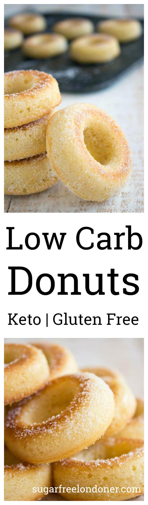 These low carb donuts taste just like the real thing, just without all the sugar and carbs! They are deliciously moist and spongy, with a hint of vanilla flavour. Perfect for Keto, sugar free and gluten free diets. #keto #lowcarb #sugarfree #diabetic #dessert #donuts #LCHF