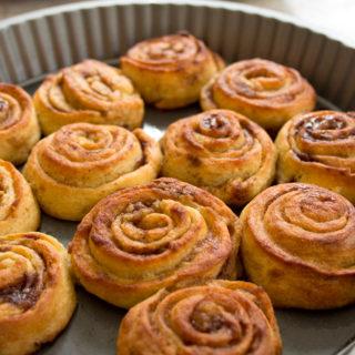keto cinnamon rolls in a baking tray