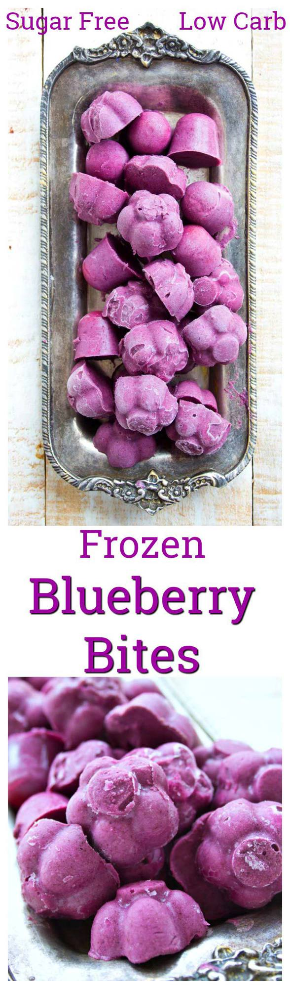 These 3 ingredient frozen blueberry bites are such a refreshing fruity treat. Sweetened with stevia, it's an easy recipe that is low carb, gluten free and vegan. Can be made in any ice cube tray! #lowcarb #sugarfree #vegan #blueberries #dessert #frozen