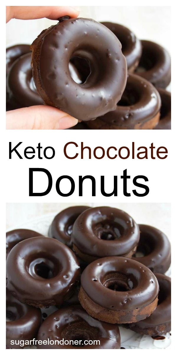 These moist Keto chocolate donuts will satisfy the most urgent chocolate craving. A delicious treat that's sugar free, gluten free and low carb. #Keto #Lowcarb #sugarfree #donuts #chocolate #dessert #glutenfree