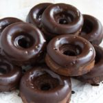 a plate of Keto chocolate donuts