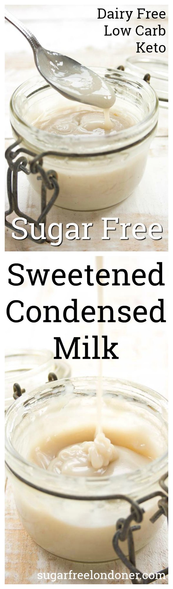 A simple homemade sugar free condensed milk that works wonders in low carb and Keto dessert recipes. Only 3 ingredients and 1/10 of the carbs in regular sweetened condensed milk! #condensedmilk #dessert #sugarfree #diabetic #lowcarb #keto
