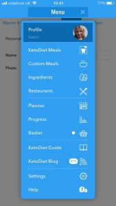 Keto Diet app Menu