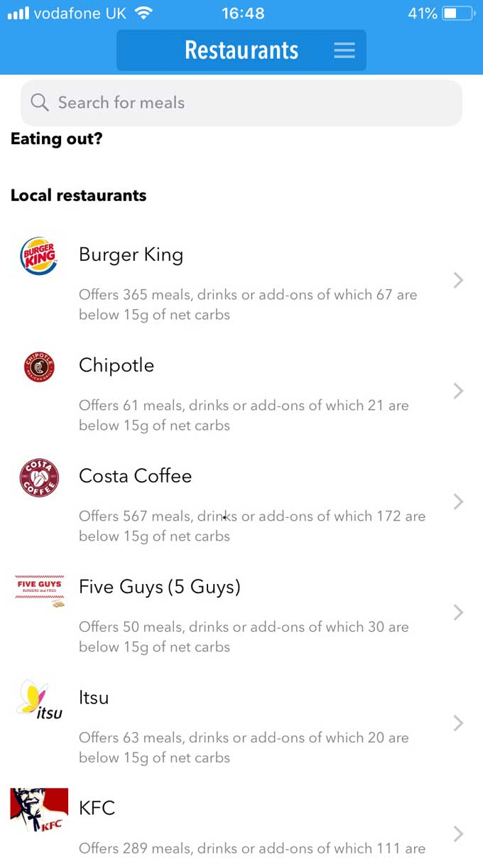 Keto Diet app Restaurants