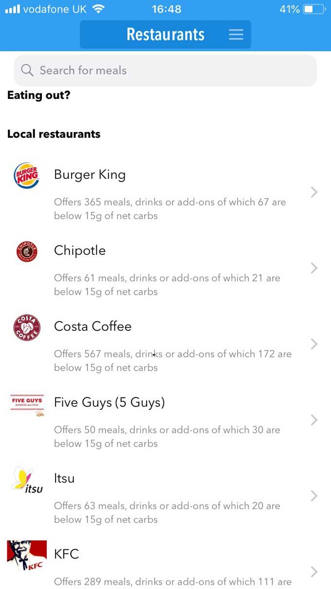 Keto Diet app Restaurants