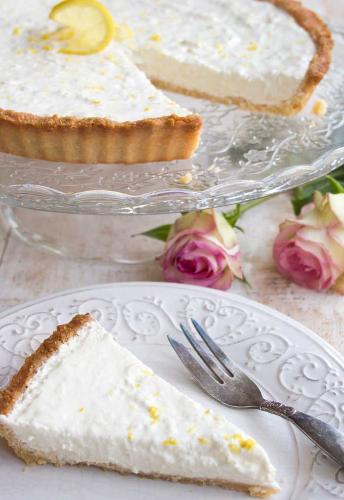 Low carb lemon cheesecake slice on a plate