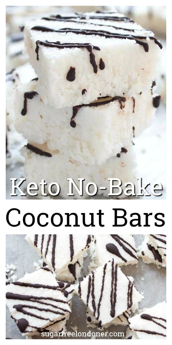 Sweet craving? These soft, chewy coconut bars are healthy dessert heaven. NO-BAKE and made with only 5 ingredients, you'll never guess these decadent-tasting candy bars are low carb, Keto and sugar free! #coconutbars #ketocandy #ketodessert