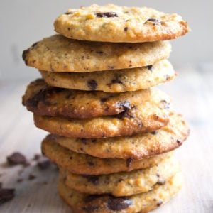 a stack of keto chocolate chip cookies