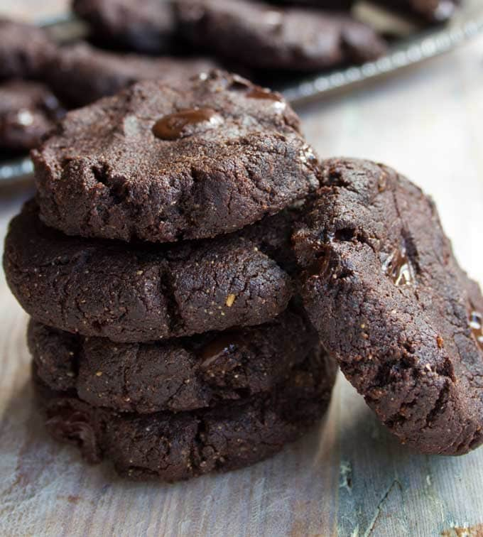 A stack of almond butter brownie cookies