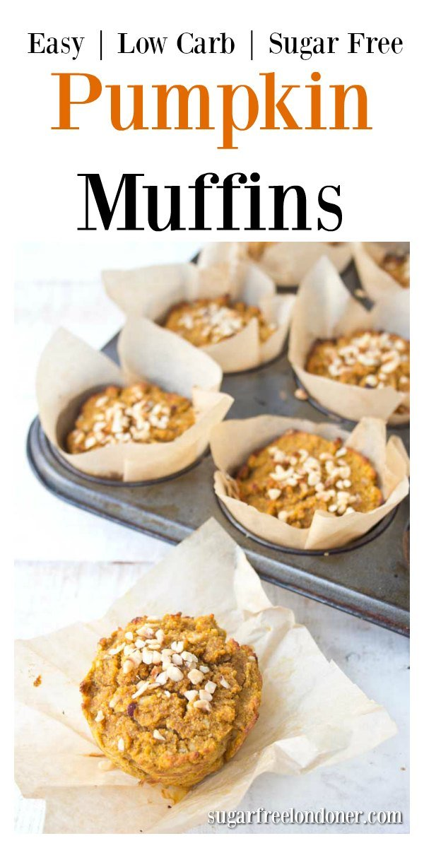 Deliciously spiced, fluffy and moist: Enjoy these healthy pumpkin muffins for breakfast or as an afternoon treat. Low Carb and sugar free!  #lowcarb #sugarfree #pumpkin #muffins